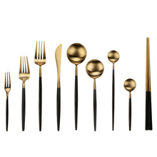 Load image into Gallery viewer, Black Gold Stainless Steel Cutlery
