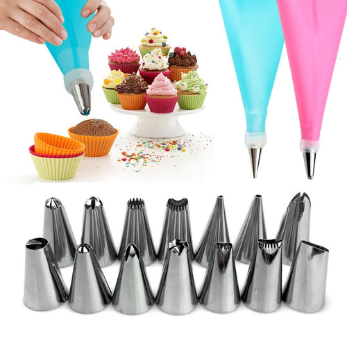 16pcs/set Cake Decorating Stainless Steel Piping Nozzles and Bag