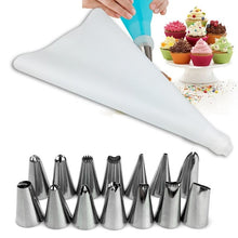 Load image into Gallery viewer, 16pcs/set Cake Decorating Stainless Steel Piping Nozzles and Bag