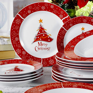 36-Pieces Christmas Style Porcelain Ceramic Dinnerware Set