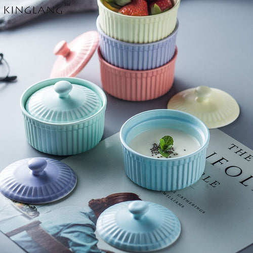 Nordic Style Ceramic Baking bowl with lid