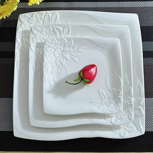 Flower Stamped Ceramics Flat Dinner Plate 3/set