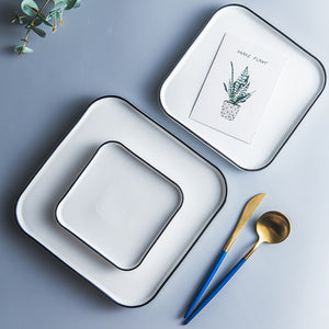 White Square Ceramic Plate