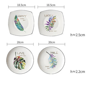 4Pcs Green Plants Ceramic Tableware