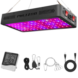 Phlizon Newest LED Plant Grow Light,with Thermometer Humidity Monitor,with Adjustable Rope,Full Spectrum Double Switch Plant Light for Indoor Plants Veg and Flower