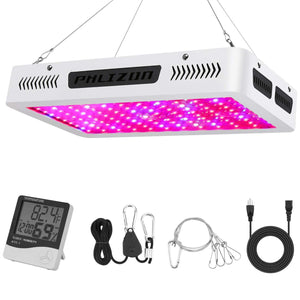 Phlizon Newest High Power Series Plant LED Grow Light,with Thermometer Humidity Monitor,with Adjustable Rope,Double Chips Full Spectrum Grow Lamp for Indoor Plant