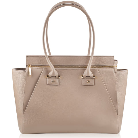 Olivia beige & gold leather tote NEW IN