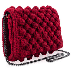 Bubble bag red HANDKNITTED