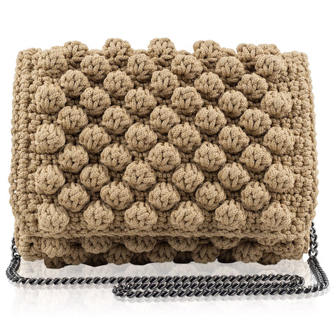 Bubble bag beige HANDKNITTED
