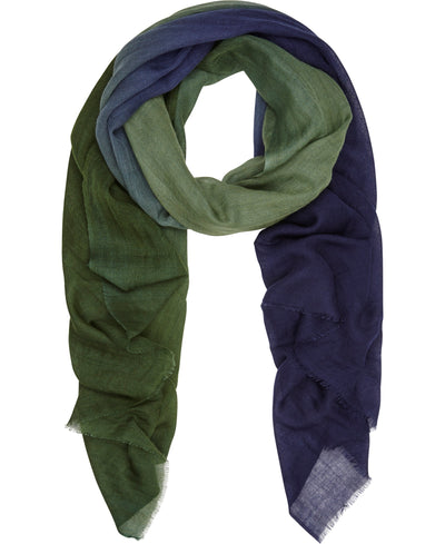 Blue Green Ombre silk and fine wool scarf