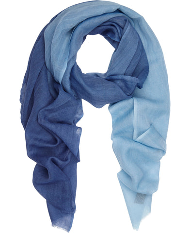 Blues Ombre silk and fine wool scarf