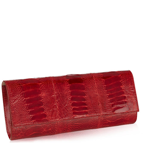 Diana Flame Red Ostrich Clutch NEW SEASON