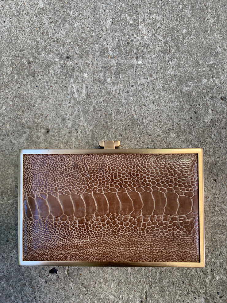 Iris double-faced ostrich box clutch UNIQUE
