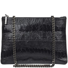Lana Black ostrich and leather bag NEW ARRIVAL