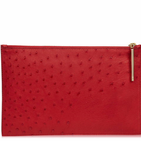 Leseli flame red ostrich clutch