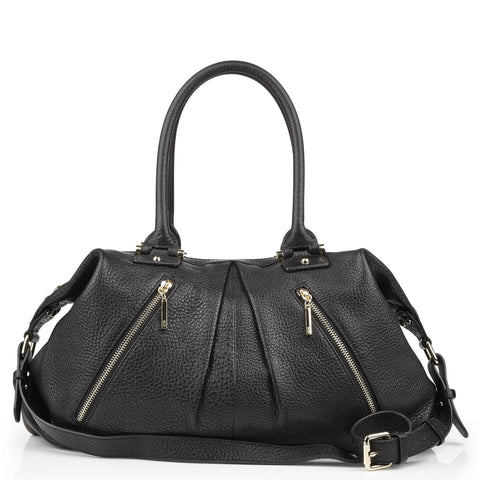 Victoria large black leather tote