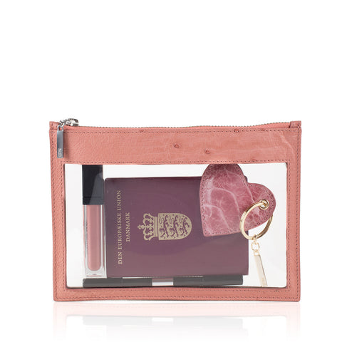Transparent ostrich and vynil clutch - NEW ARRIVAL