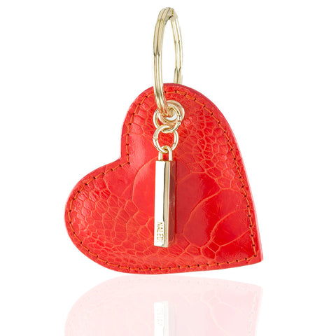 Heart ostrich key ring & bag charm