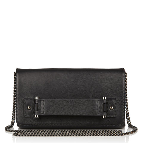 Sascha black leather clutch
