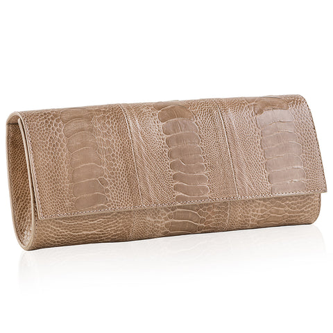 Diana Latte Ostrich Clutch BACK IN STOCK