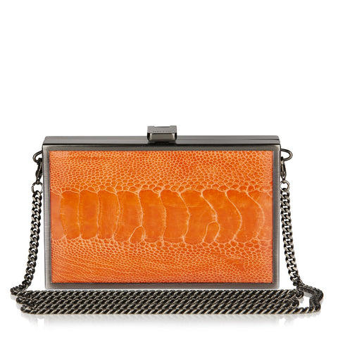 Iris TANGERINE Ostrich Box Clutch NEW SEASON