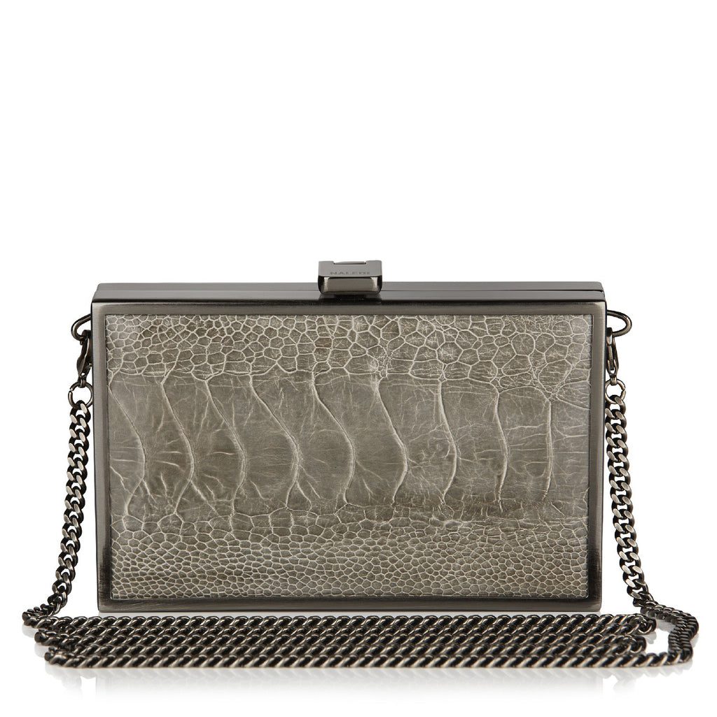 Iris CERPENTINE GREY Ostrich Box Clutch