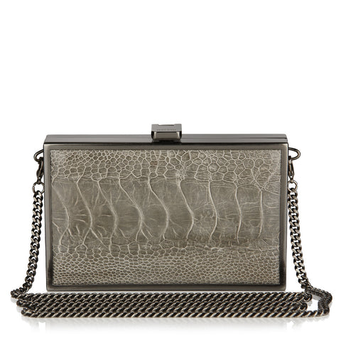 Iris COPENHAGEN GREY Ostrich Box Clutch