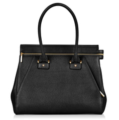 Olivia black & gold leather tote