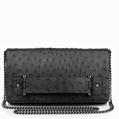 Sascha black ostrich bag NEW SEASON