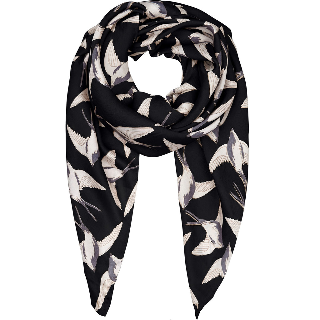 Swallows black silk scarf