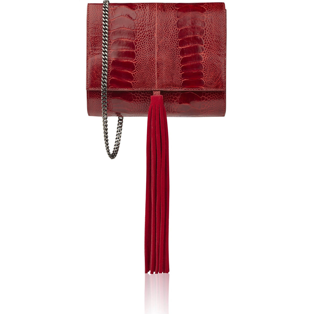 Ella red ostrich bag PREORDER