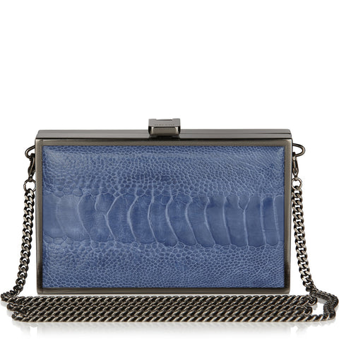 Iris double-faced VIOLET + CLEAMARIS BLUE ostrich box clutch NEW TO SALE