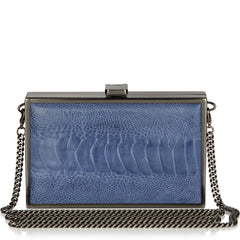 Iris double-faced VIOLET + CLEAMARIS BLUE ostrich box clutch