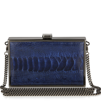 Iris double-faced HYDRANGEA BLUE + CLEMARIS BLUE ostrich box clutch