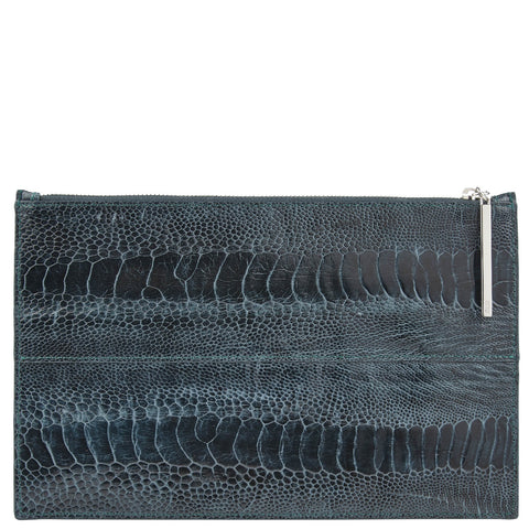 Leseli dark green ostrich leg clutch