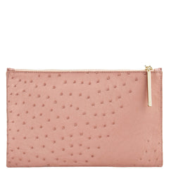 Leseli blush ostrich clutch