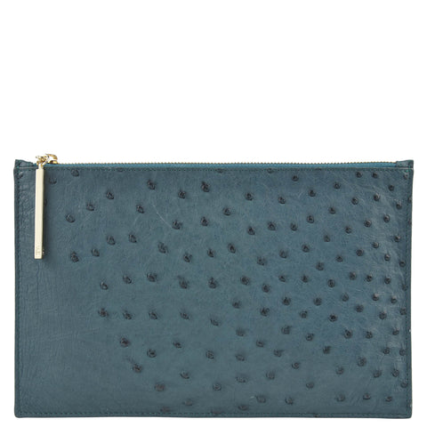 Leseli dark green ostrich clutch