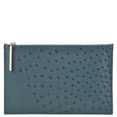 Leseli dark green ostrich clutch REDUCED FURTHER