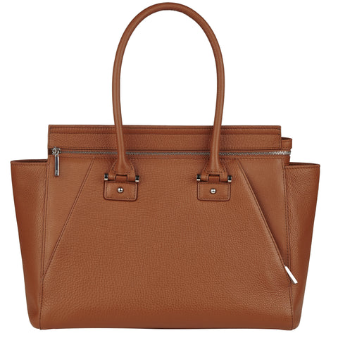 Olivia cognac leather tote
