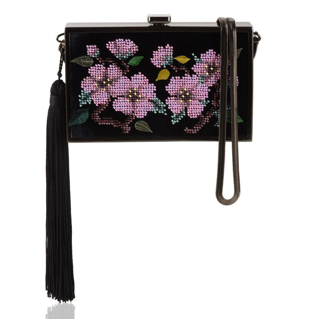 Sakura bead embroidered velvet and ostrich bag NEW ARRIVAL