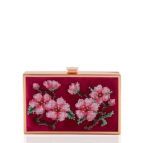 Sakura bead embroidered velvet bag NEW ARRIVAL