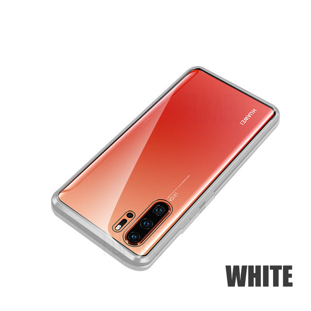 Luxury Double-sided Magnetic Privacy Tempered Glass Case For Huawei P30pro P30lite P30