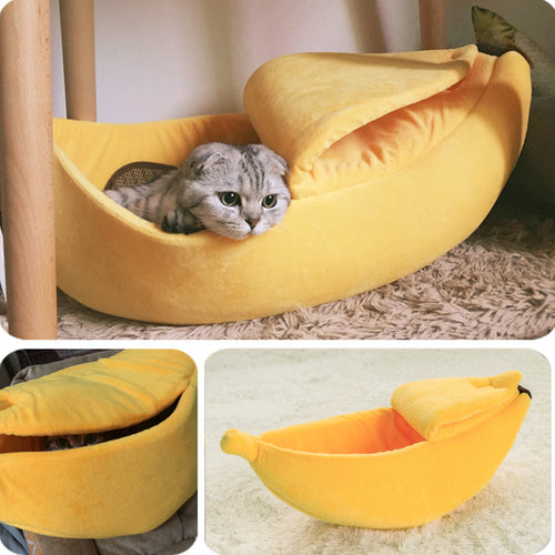 Cat Banana Bed Pet Boat Dog Warm House Soft Yellow Sleep Nest Winter Cotton Cushion Coral Fleece