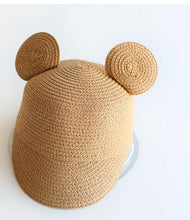 Load image into Gallery viewer, Girls Wide Brim Straw Cap (multiple colors available)