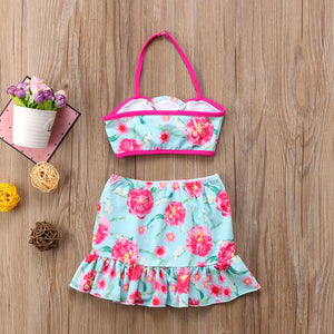 Girls (6M -7YRS) Flower Swimwear 3-Piece Set