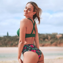 Load image into Gallery viewer, Twist Front Green Floral High-Waist Bikini