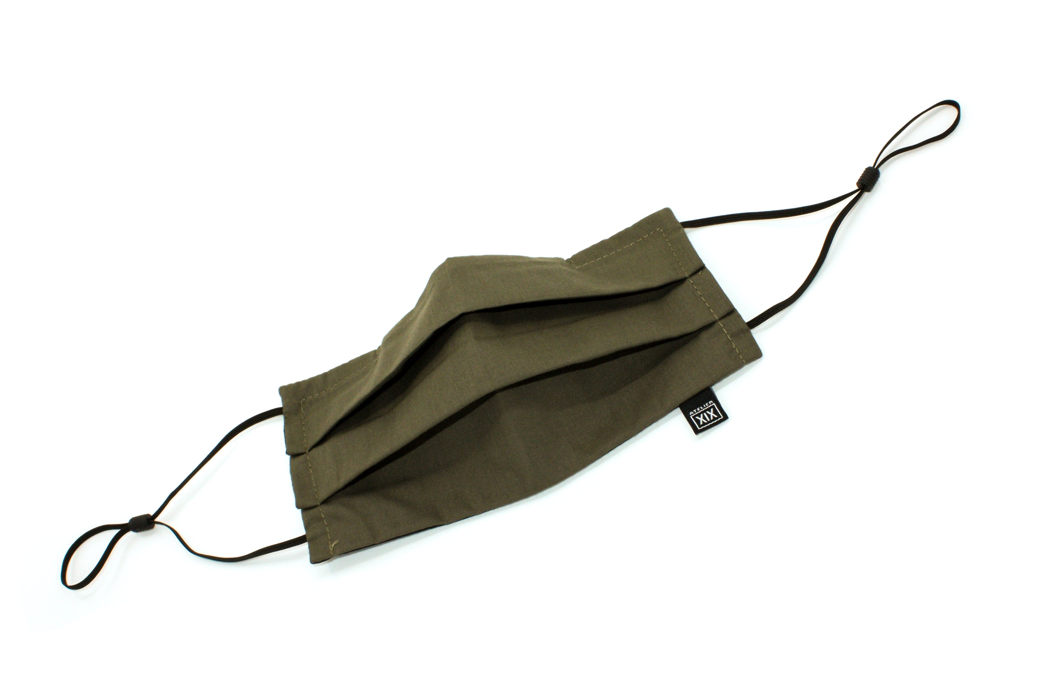 atelierXIX_Facemasks_DoublePleat_Ears_WovenCotton_Olive_Opened
