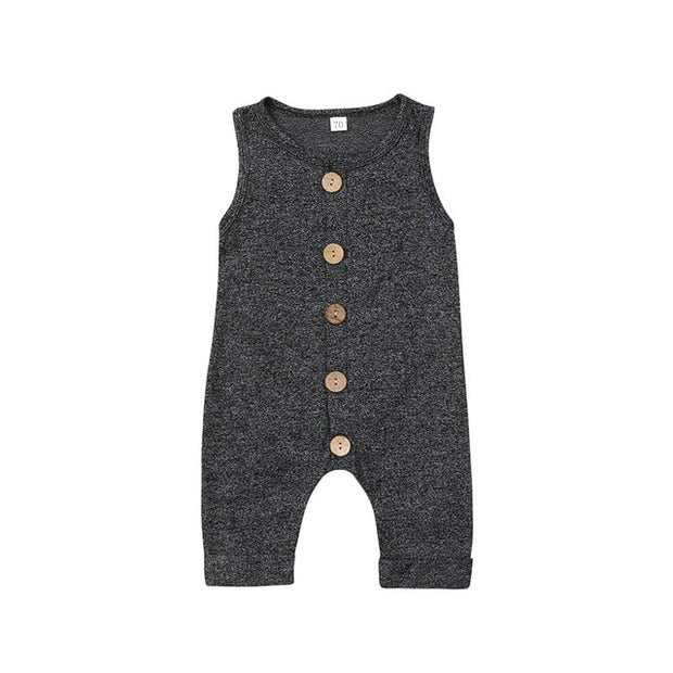 Solid Button Romper