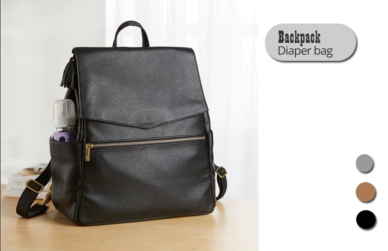 Leather Baby Diaper Bag Backpack