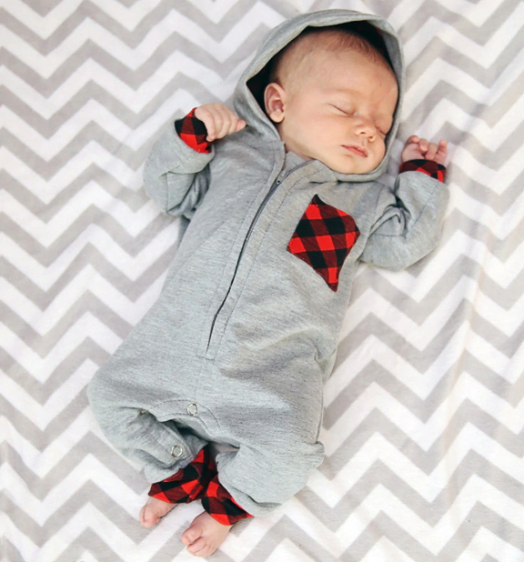 Plaid Patch Playsuit Onesie
